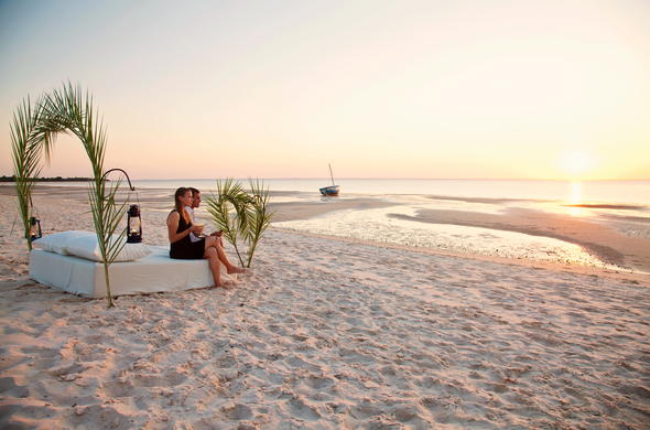 Romantic sundowners on Benguerra Island in Mozambique.
