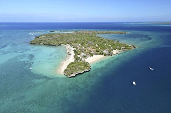 Aerial view of Azura Quilalea Private Island in Mozambique.
