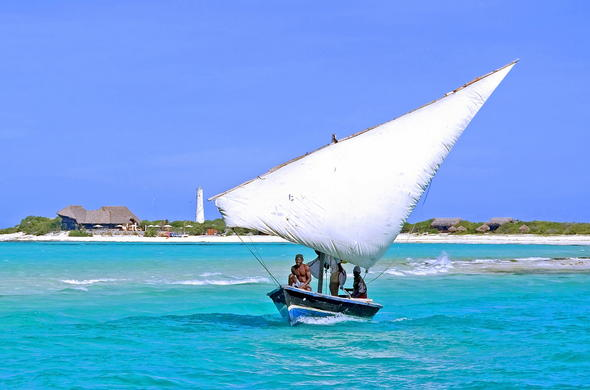Fishermen on a dhow in Inhambane, Mozambique.