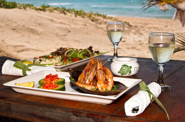 Fresh seafood and fine wine is served at the Green Turtle Restaurant.