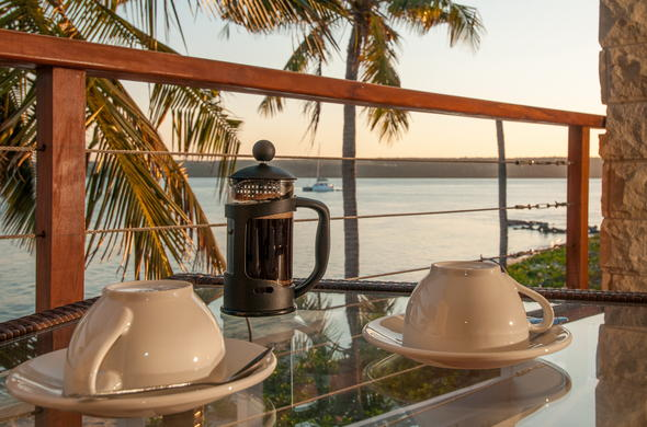 Cup of coffee on the deck of Castelo do Mar.