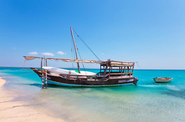 Boat on the shores of Ibo Island in Mozambique.
