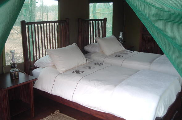 Tented twin suite at Machampane Wilderness Camp.