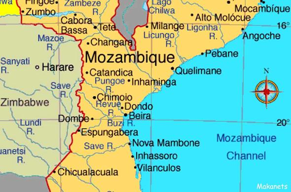 Map of Mozambique.