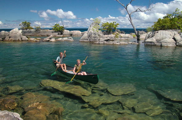 Canoeing in Niassa Game Reserve.