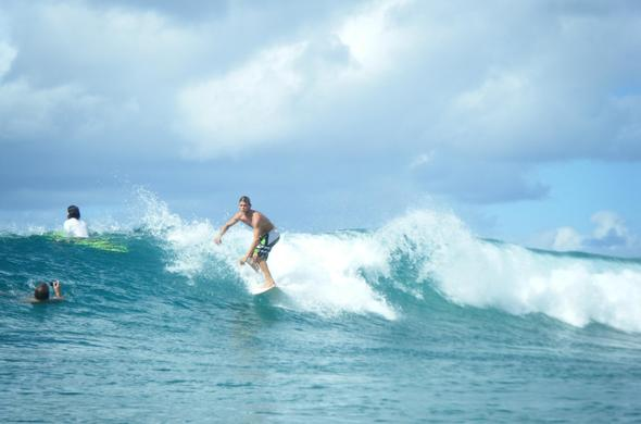 Surfing at Tofo beach.