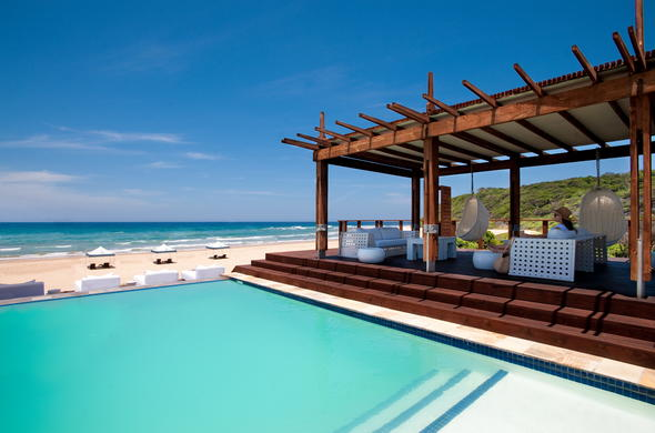 White Pearl Resorts Ponta Mamoli pool deck.
